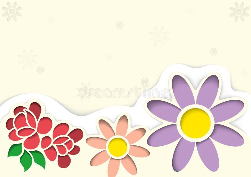 Groetkaart met Bloemen in de Stijl van Knipsels vector illustratie