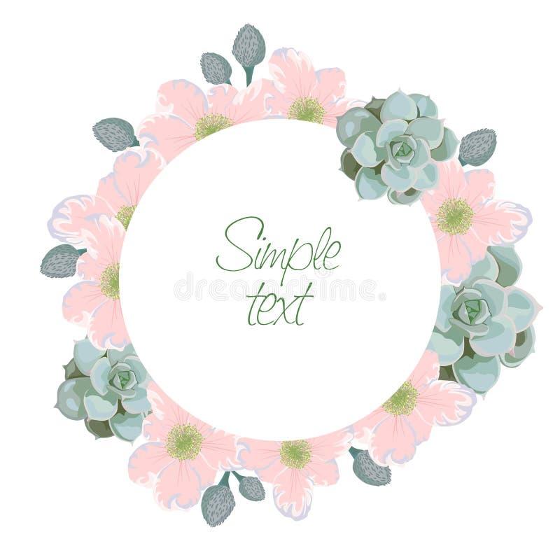 Groetkaart met bloemenkroon Dank u concept Mooie achtergrond vector illustratie