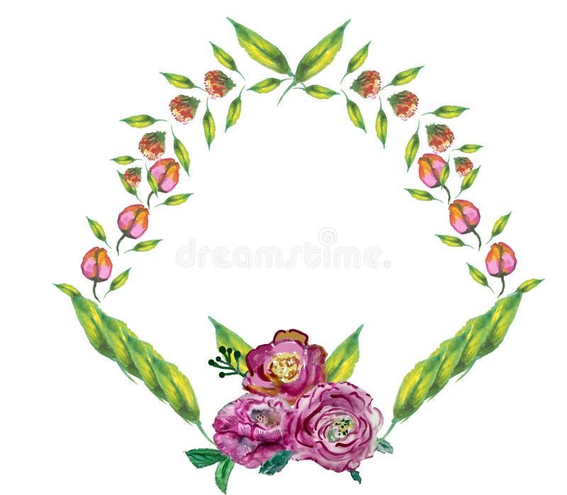 Groetkaart met boeketbloemen voor huwelijk, verjaardag en andere vakantie bloemenhoek stock illustratie