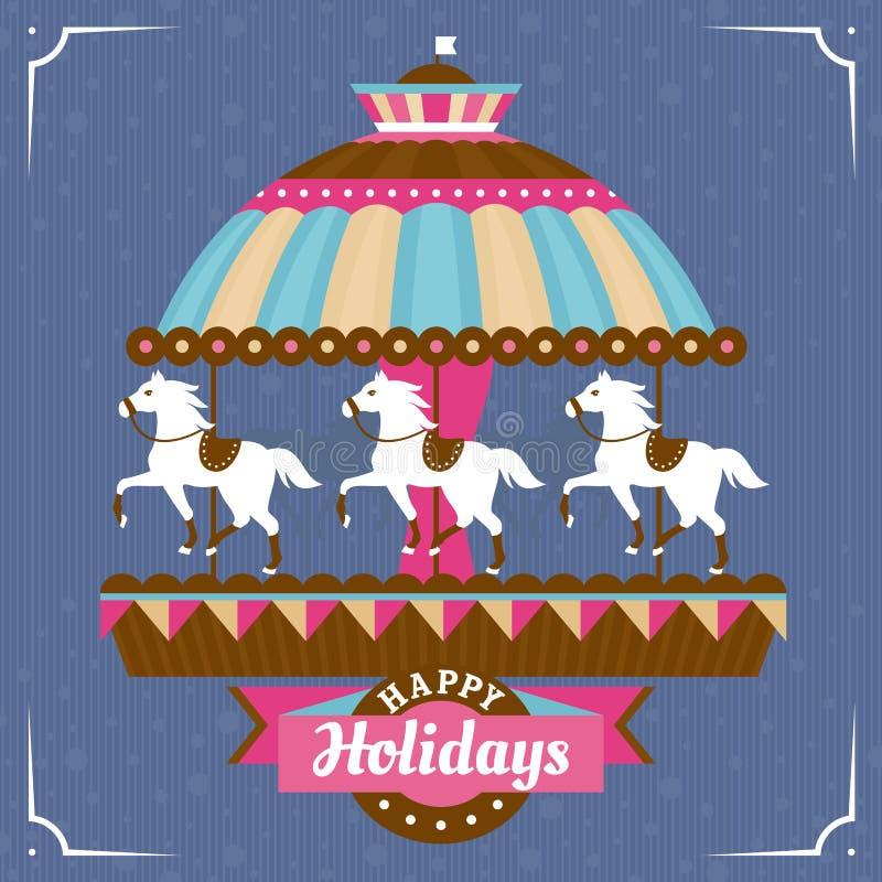 Groetkaart met carrousel royalty-vrije illustratie