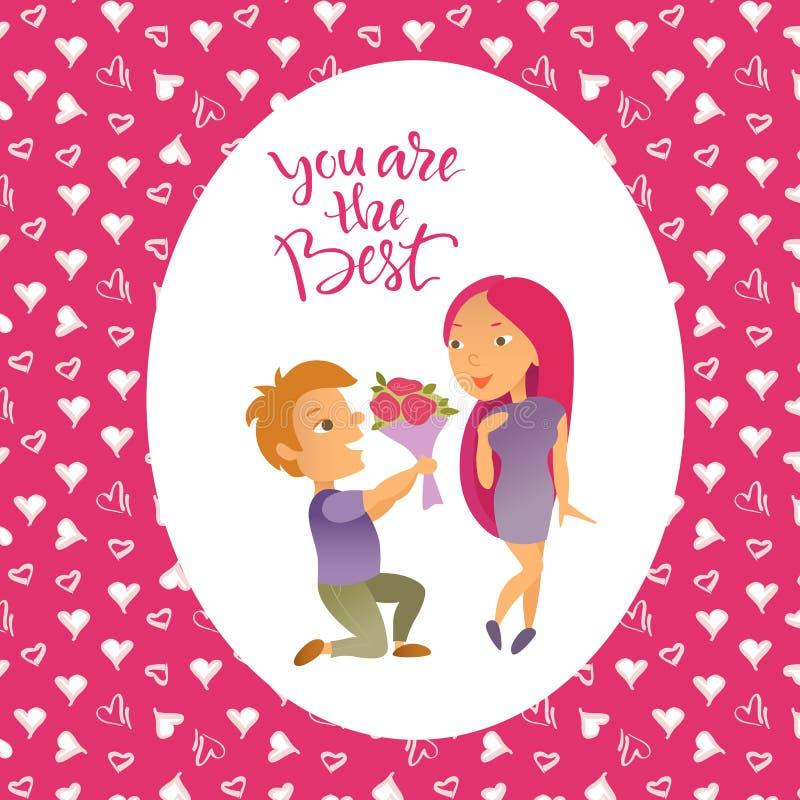 Groetkaart met de Gelukkige Dag van Valentine ` s royalty-vrije illustratie