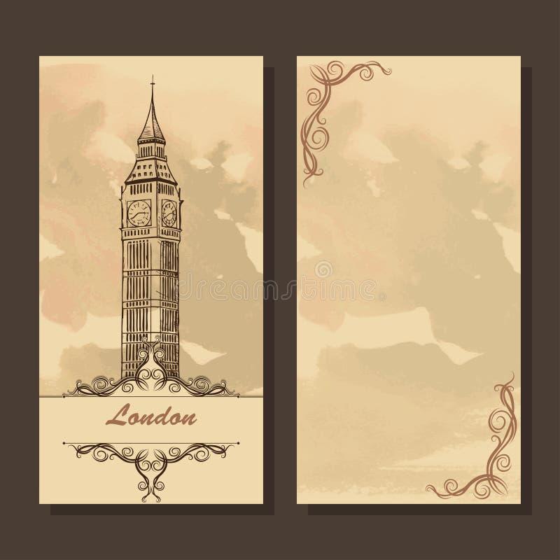 Groetkaart met de stadsgezichten van Londen, Big Ben royalty-vrije illustratie