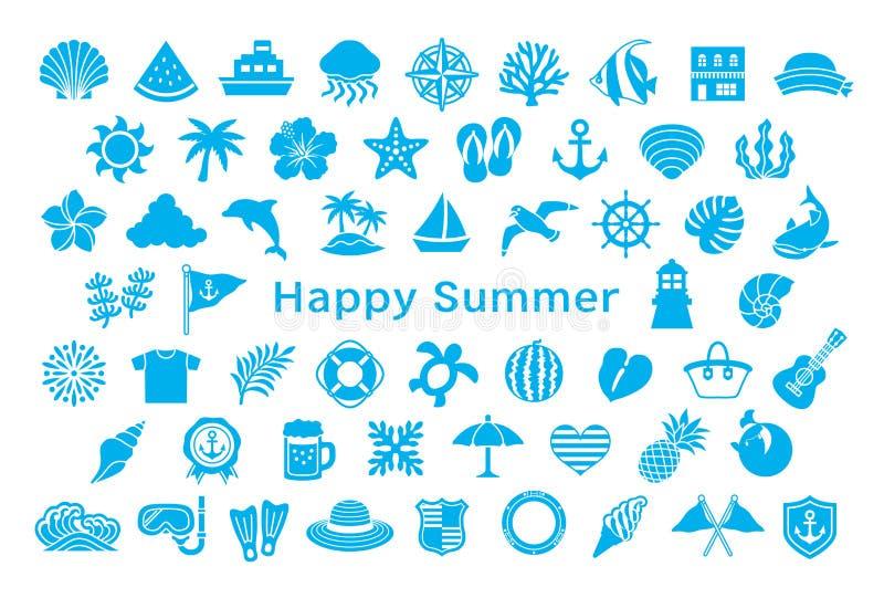 Groetkaart met de zomerpictogrammen royalty-vrije illustratie