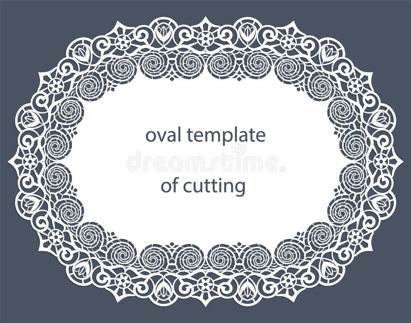 Groetkaart met decoratieve ovale grens, doily van document onder de cake, malplaatje voor knipsel, huwelijksuitnodiging, decorati vector illustratie