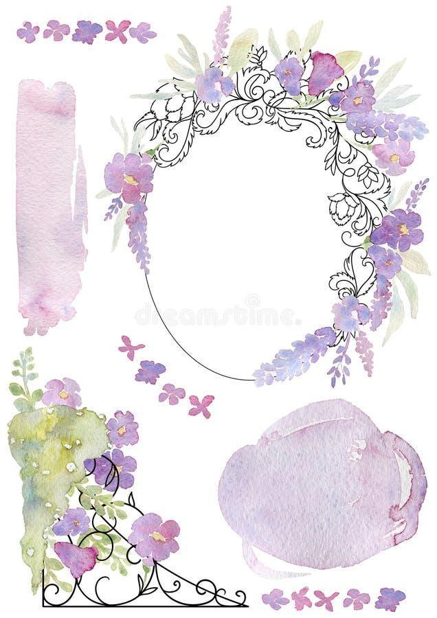 Groetkaart met gesmede kader, bloemen en waterverfplons Uitstekend barok ornament en romantische tuinbloemen Ontwerp templ vector illustratie