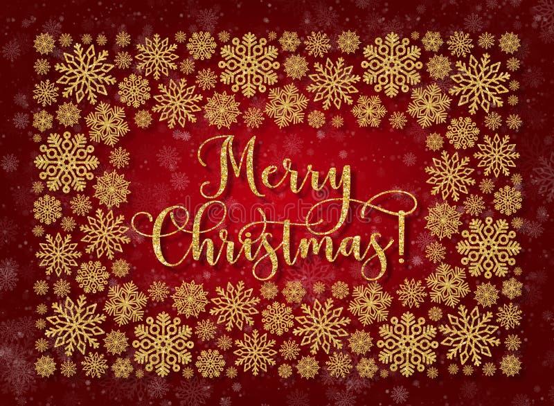Groetkaart met gouden teksten op een rode achtergrond Schitter uitdrukkings Vrolijke Kerstmis stock illustratie