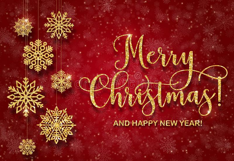 Groetkaart met gouden teksten op een rode achtergrond Schitter Vrolijke Kerstmis en gelukkig nieuw jaar royalty-vrije stock foto