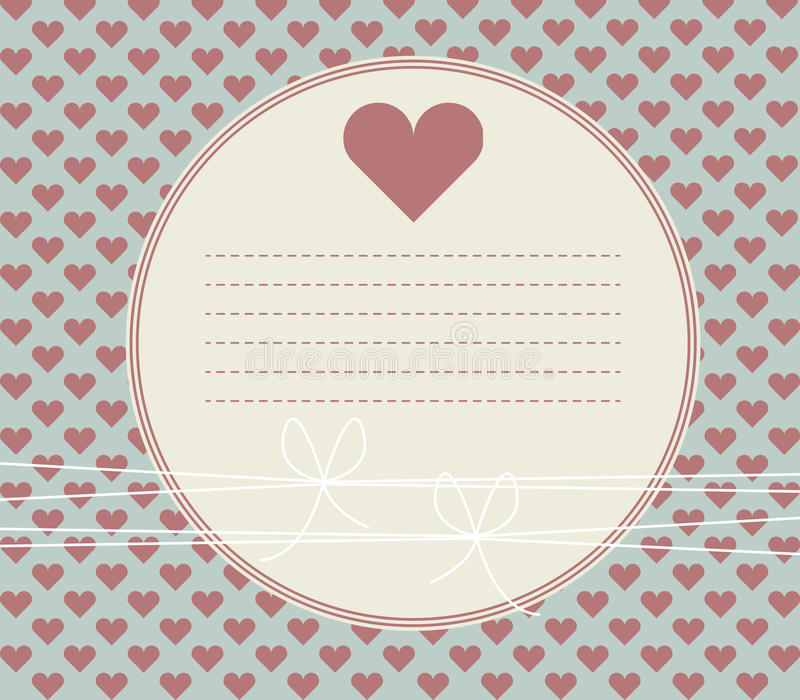 Groetkaart met harten, bogen en plaats voor uw tekst vector illustratie