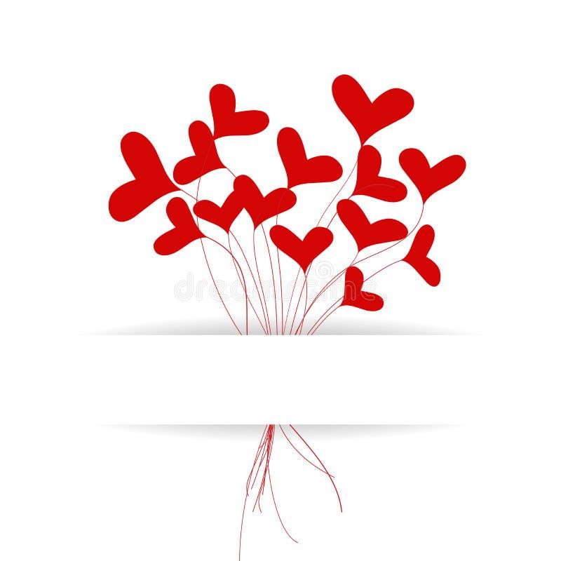 Groetkaart met hartenboeket stock illustratie