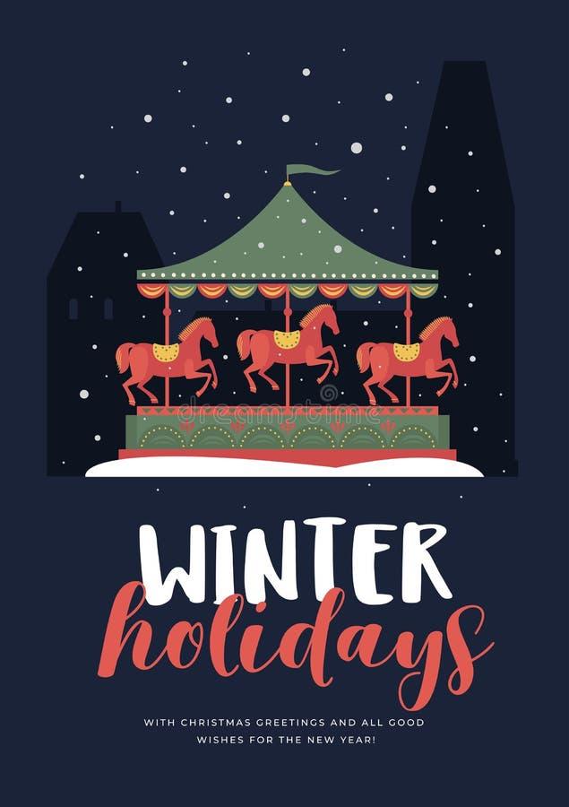 Groetkaart met het beeld van een feestelijke carrousel met paarden in sneeuwavondstad royalty-vrije illustratie