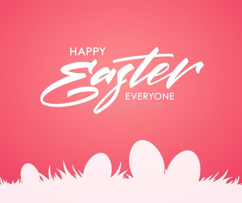 Groetkaart met het met de hand geschreven type van letters voorzien van Gelukkige Pasen en silhouet van eieren op gras op roze ac vector illustratie