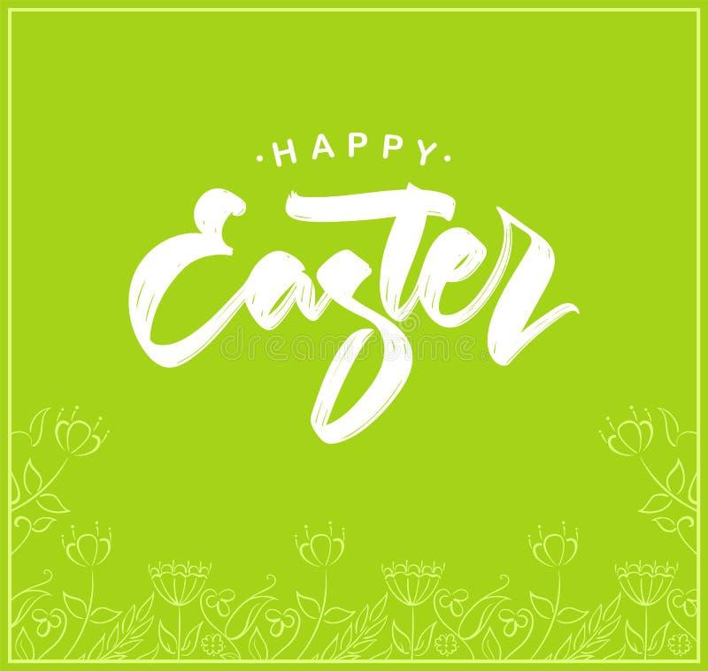Groetkaart met het met de hand geschreven van letters voorzien van Gelukkige Pasen en hand getrokken bloemenkader op groene achte royalty-vrije illustratie