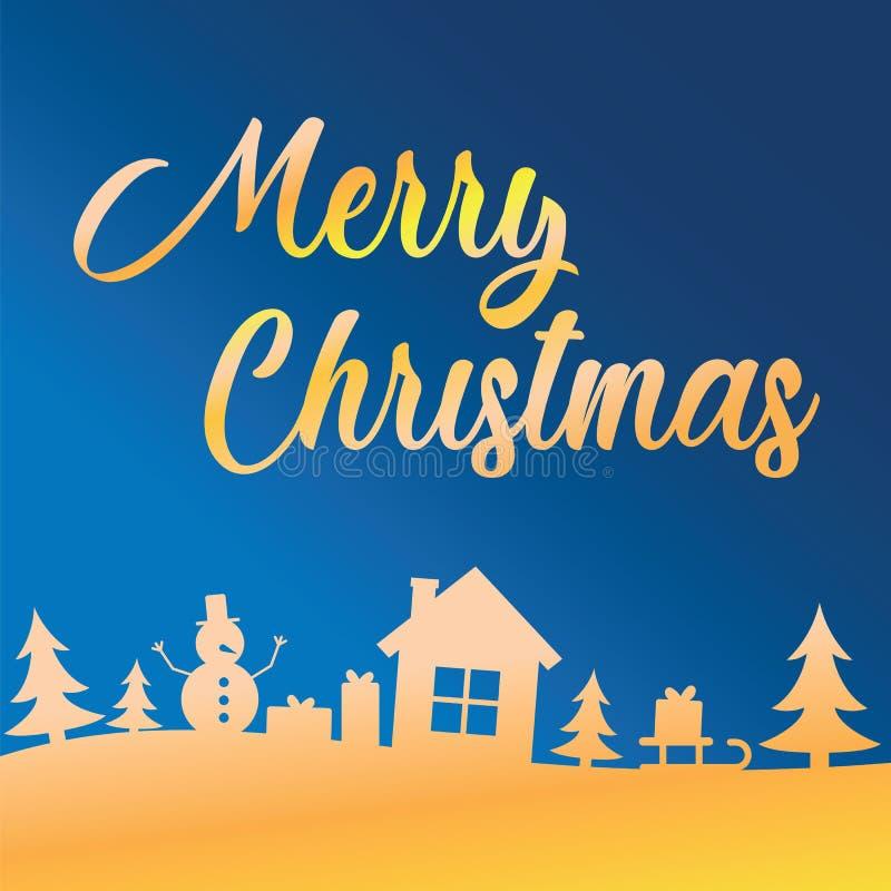 Groetkaart met het van letters voorzien Vrolijke Kerstmis op blauwe hemel over bomen, huis, sneeuwman en giften Gretting met Vrol stock illustratie