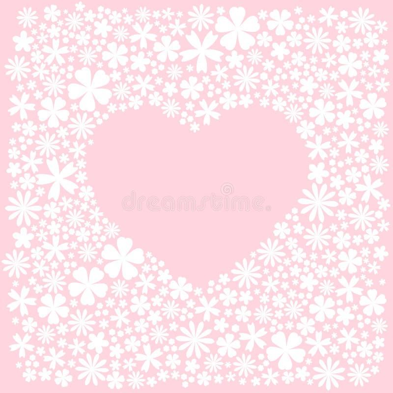 Groetkaart met hitte van witte vlakke bloemen Roze achtergrond Vectorhuwelijksillustratie vector illustratie