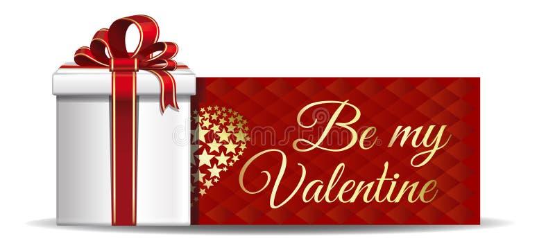 Groetkaart met inschrijving - ben mijn Valentine stock illustratie