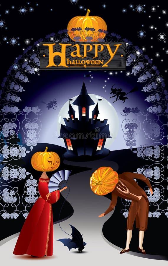 Groetkaart met inschrijving Gelukkig Halloween stock illustratie