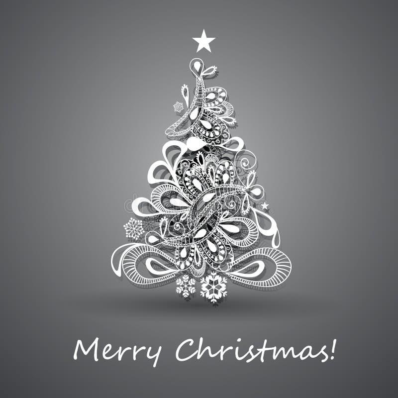 Groetkaart met Kerstboom, Abstracte Achtergrond voor Vakantie, Creatief Ontwerp royalty-vrije illustratie