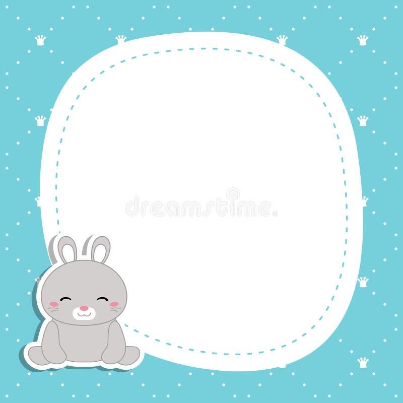 Groetkaart met leuk konijn vector illustratie