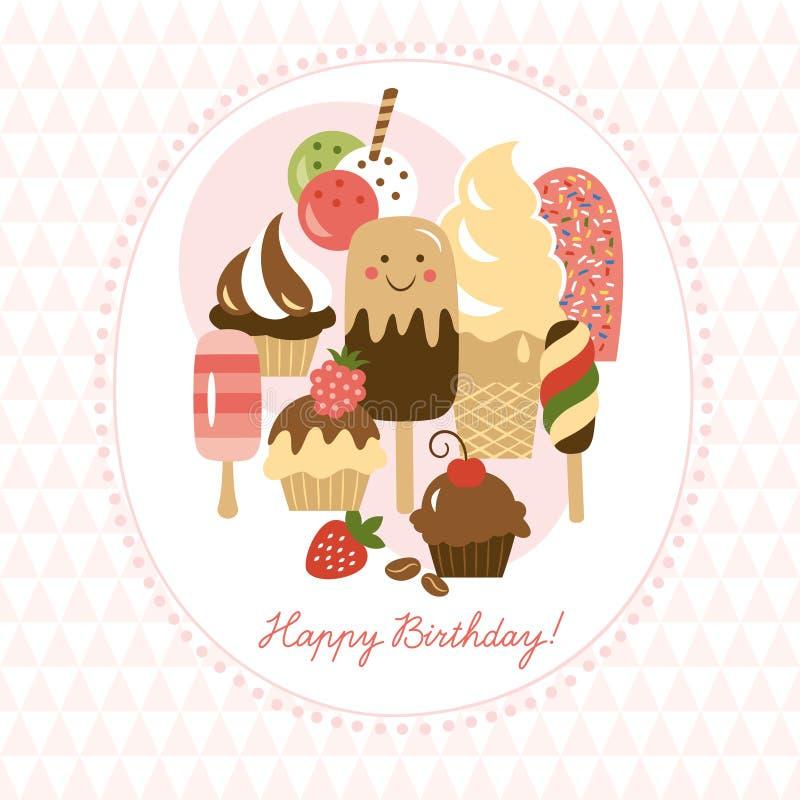 Groetkaart met leuke roomijs en cakes vector illustratie