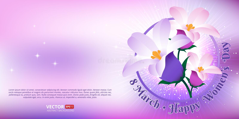 Groetkaart met 8 Maart Gelukkige internationale Vrouwen` s Dag stock illustratie