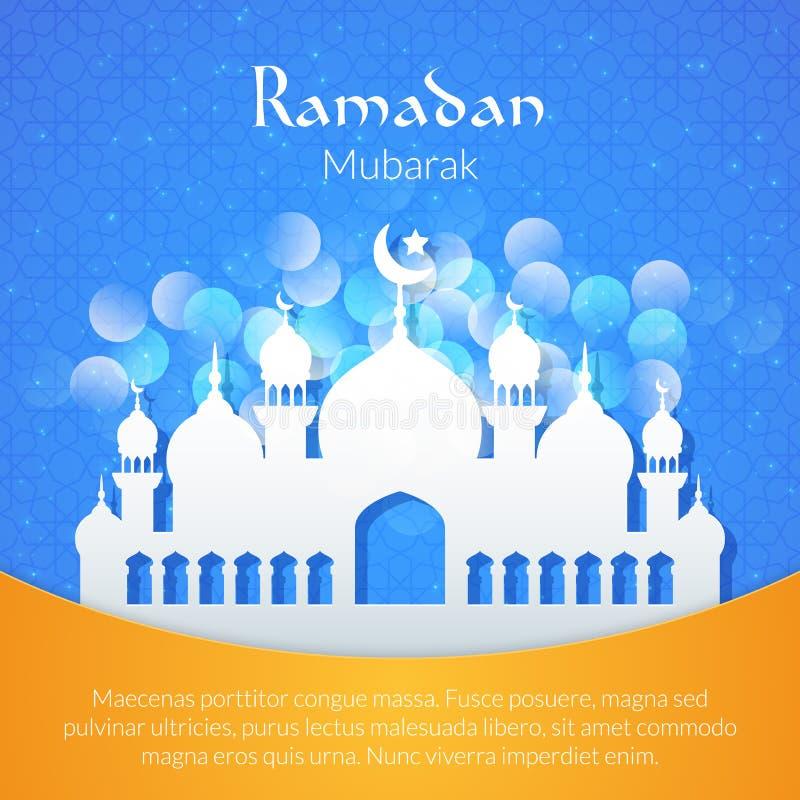 Groetkaart met moskee vector illustratie