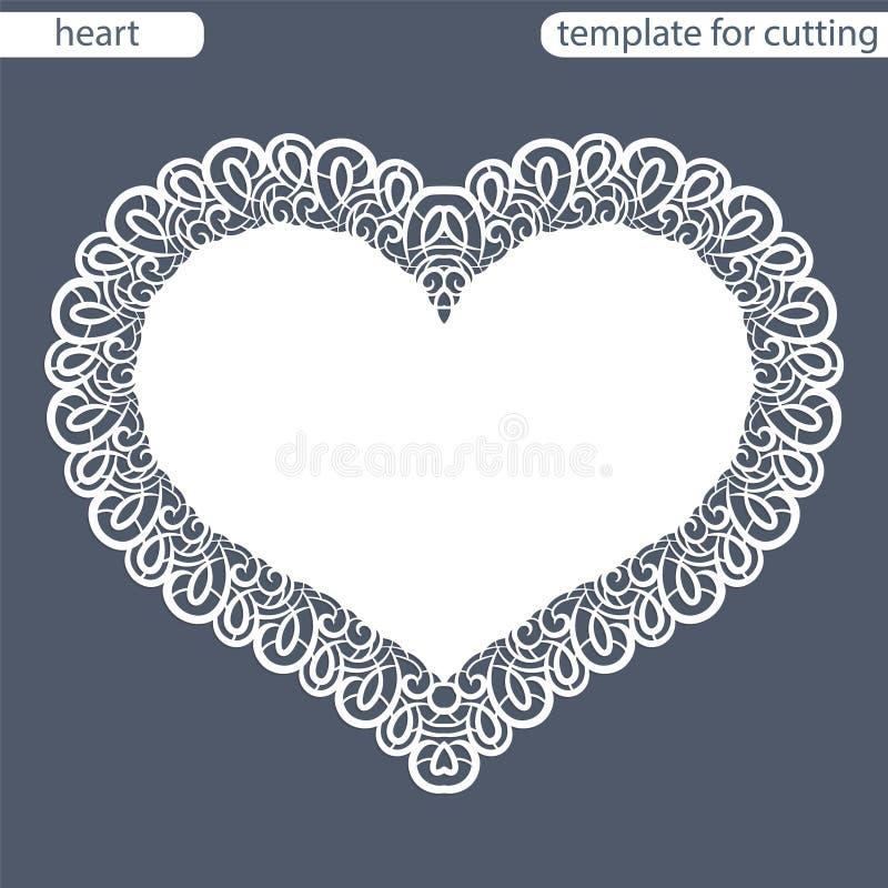 Groetkaart met openwork grens, document doily onder de cake, malplaatje voor knipsel in de vorm van hart, valentijnskaartkaart, royalty-vrije illustratie