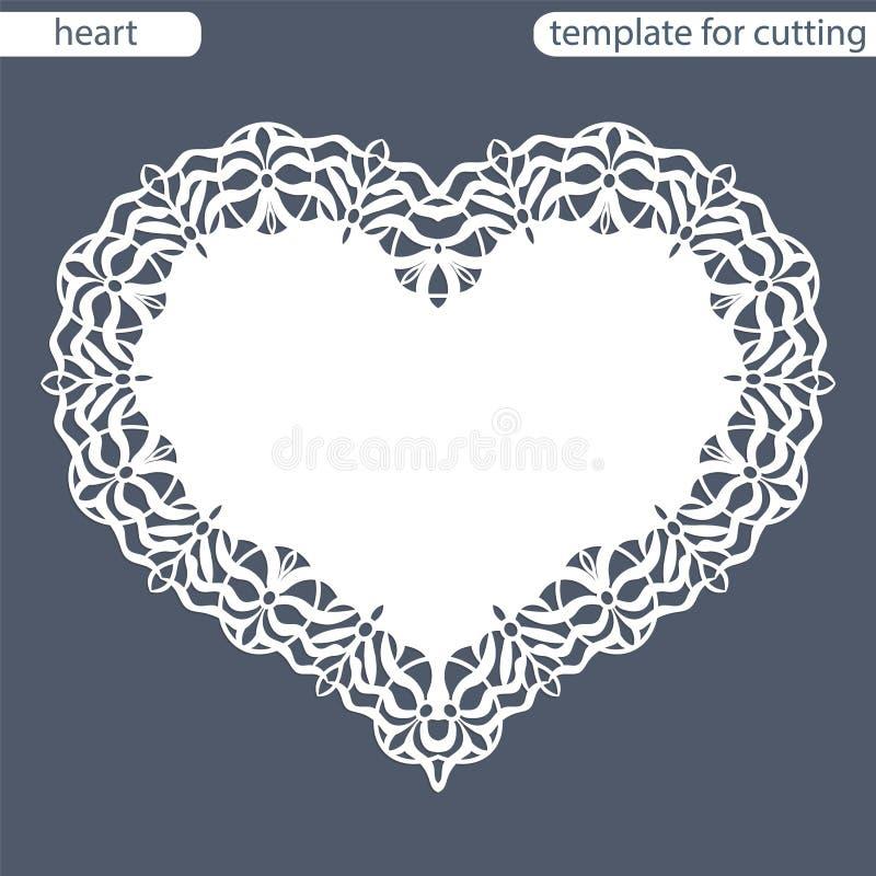 Groetkaart met openwork grens, document doily onder de cake, malplaatje voor knipsel in de vorm van hart, valentijnskaartkaart, w royalty-vrije illustratie