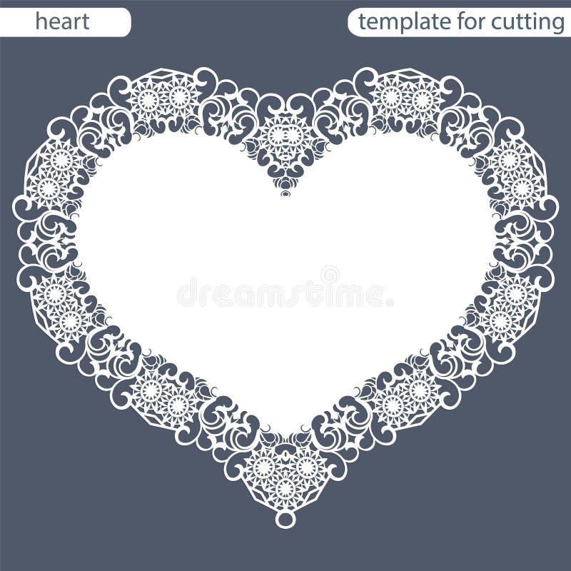 Groetkaart met openwork grens, document doily onder de cake, malplaatje voor knipsel in de vorm van hart, valentijnskaartkaart, w vector illustratie