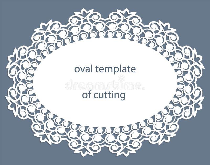 Groetkaart met openwork ovale grens, document doily onder de cake, malplaatje voor knipsel, huwelijksuitnodiging, decoratieve pla royalty-vrije illustratie