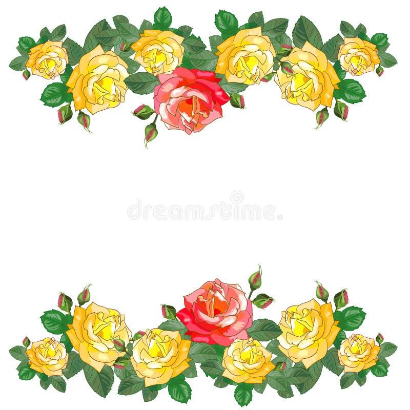 Groetkaart met Rode en Gele Rozen stock afbeelding