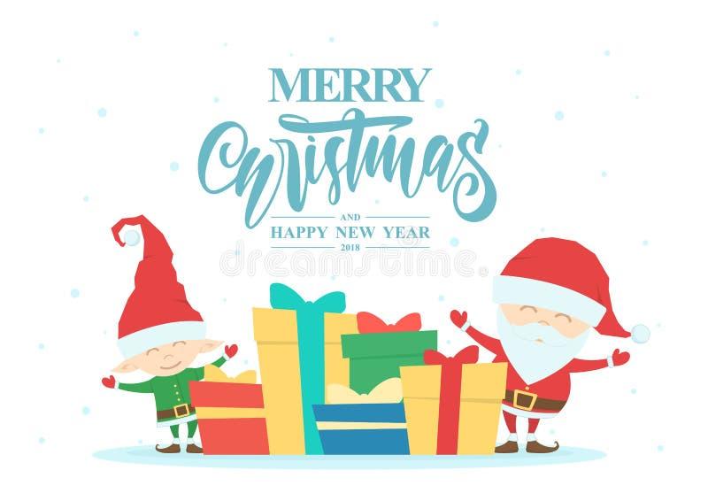 Groetkaart met Santa Claus, elf, giftdozen en hand het getrokken van letters voorzien van Vrolijke Kerstmis en Gelukkig Nieuwjaar stock illustratie