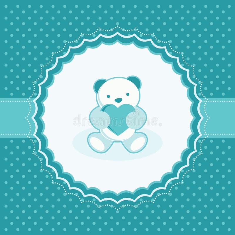 Groetkaart met teddybeer voor babyjongen. stock illustratie