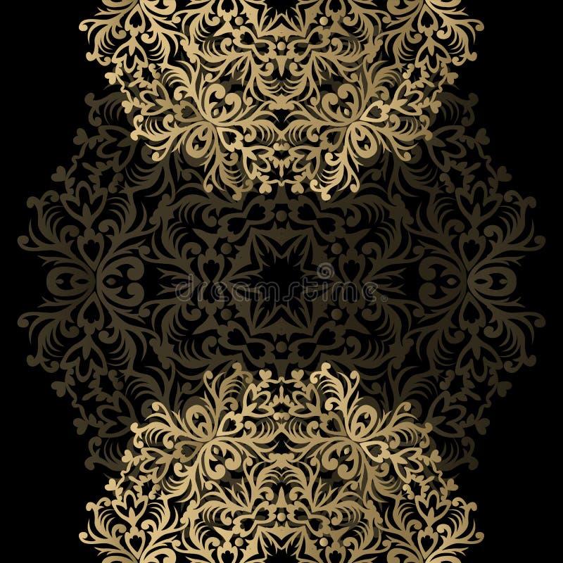 Groetkaart met uitstekend gouden ornament en plaats voor tekst sig stock illustratie