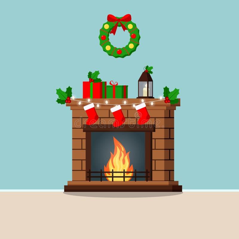Groetkaart met verfraaide die Kerstmiskroon en open haard met giften, sokken, slinger, maretak, kandelaar wordt verfraaid vector illustratie