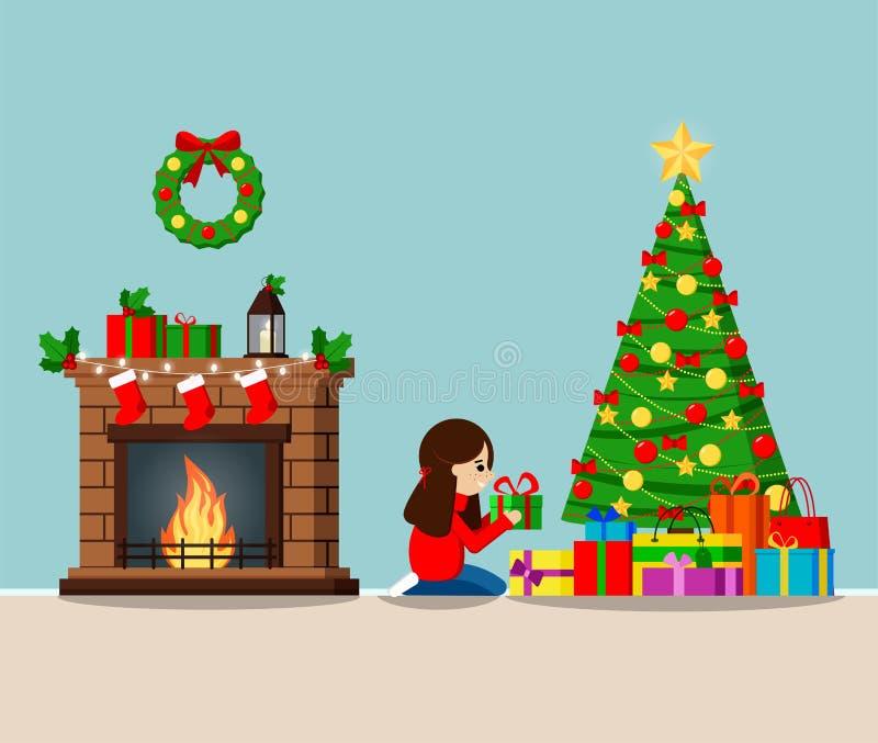 Groetkaart met verfraaide Kerstmisboom en giften onder de boom, open haard stock illustratie