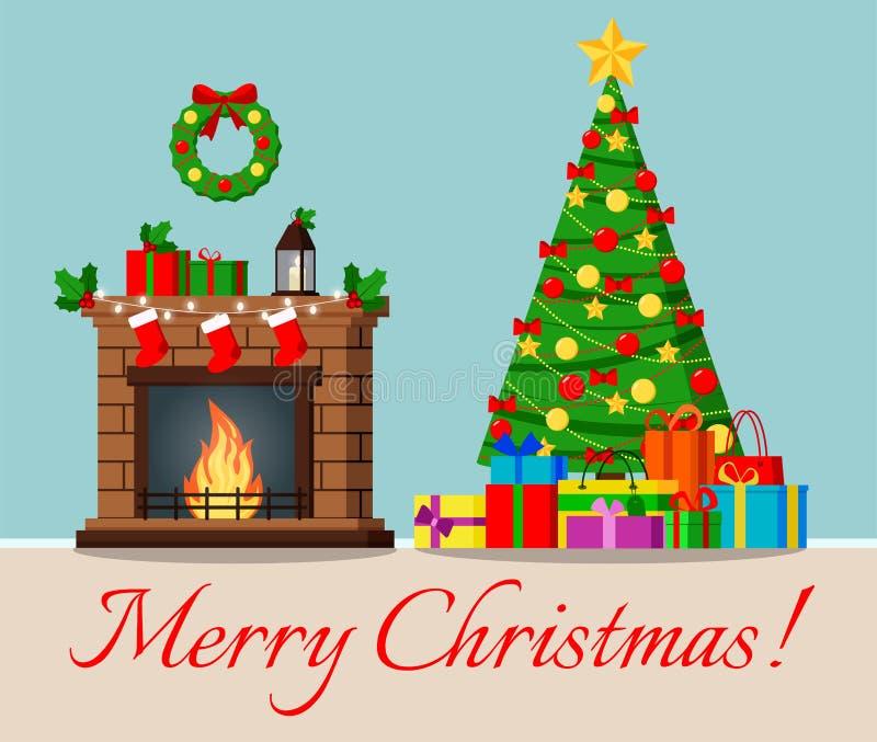Groetkaart met verfraaide Kerstmisboom en open haard met ster, decoratieballen en bogen en giften onder de boom stock illustratie
