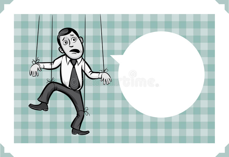 Groetkaart met zakenman als pappet royalty-vrije illustratie