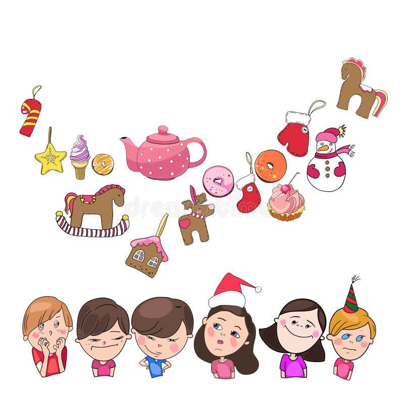 Groetkaart, nieuwe jaar en Kerstmis vector illustratie