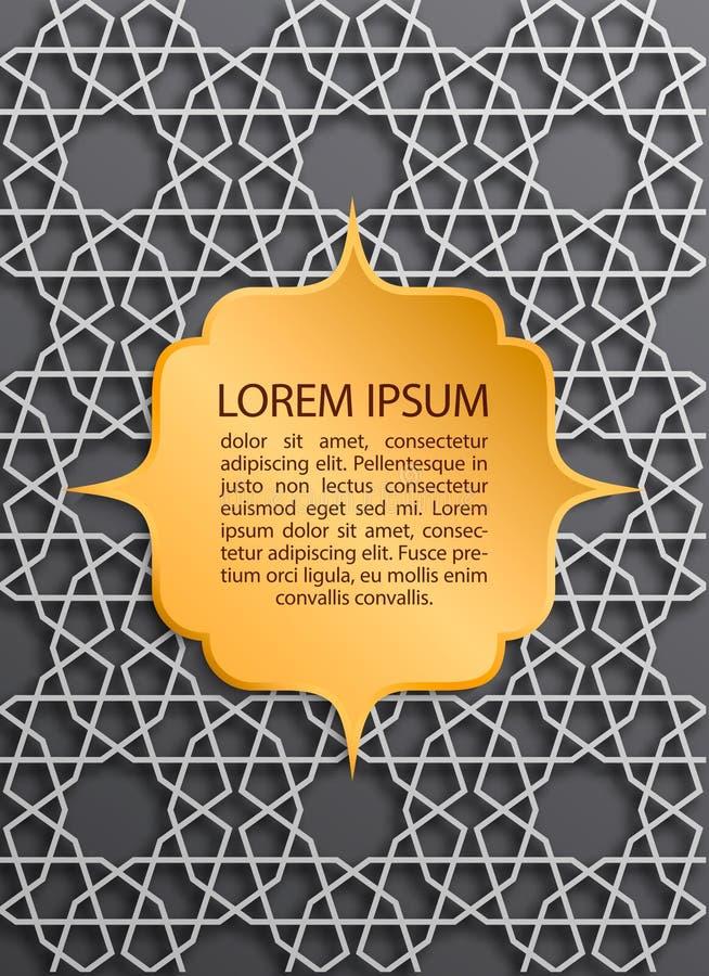 Groetkaart op Islamitische patroonachtergrond met gouden etiket Vector moslim geometrische ornamenten, traditioneel Arabisch art. vector illustratie