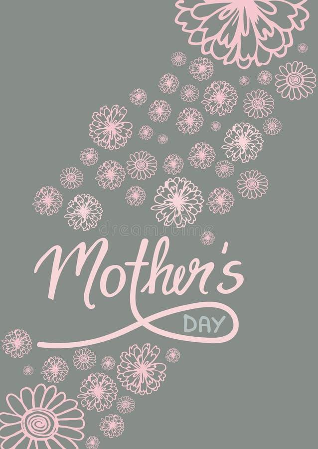 Groetkaart op moeder` s dag, met bloemen en met de hand geschreven teksten stock illustratie