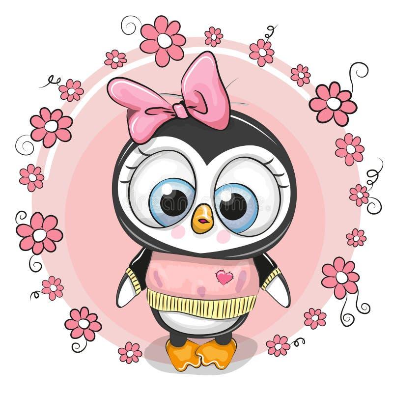 Groetkaart penguinl met bloemen royalty-vrije illustratie
