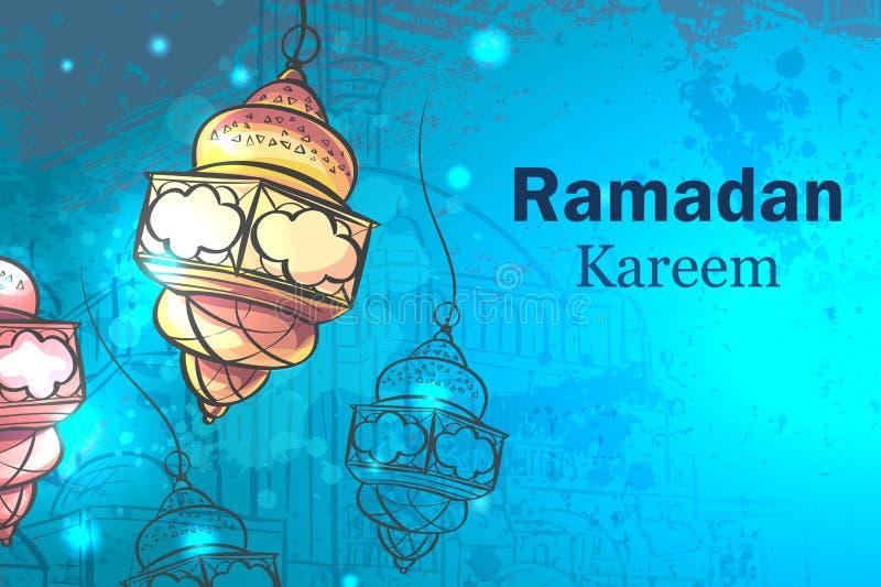 Groetkaart Ramadan Kareem lampen voor Ramadan royalty-vrije illustratie