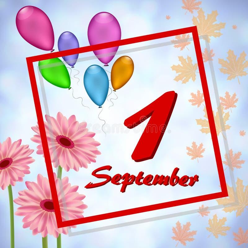 Groetkaart tegen 1 September vector illustratie
