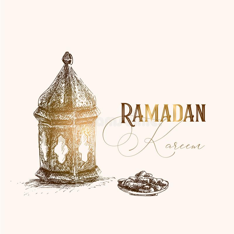 Groetkaart, uitnodiging voor moslimvakantie Ramadan Kareem Hand getrokken penschets van Arabische lantaarn en plaat met datum vector illustratie