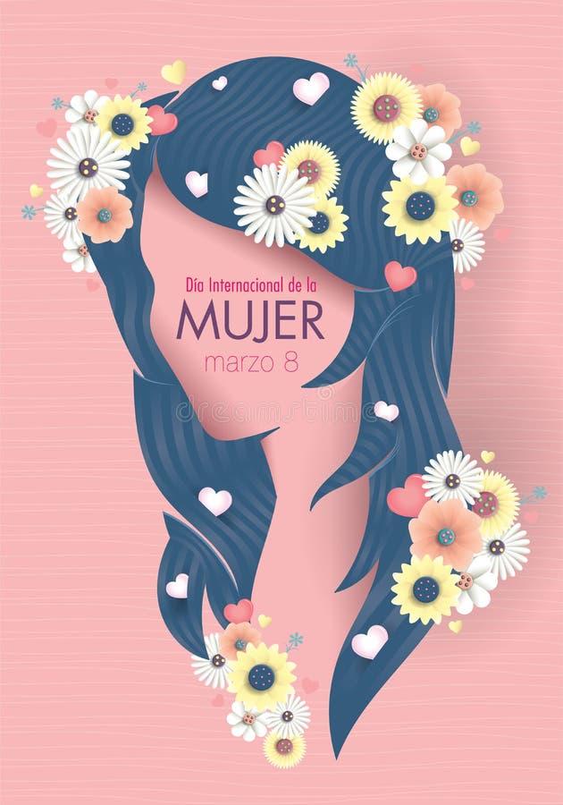 Groetkaart van INTERNATIONALE VROUWENs DAG in Spaanse taal Silhouet van vrouwenhoofd met lang blauw haar dat met harten wordt ver vector illustratie