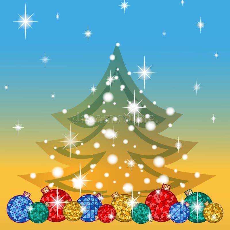 Groetkaart voor de de wintervakantie Onder een aantal heldere Kerstboomballen, boomsilhouet met sneeuwvlokken en sterren V royalty-vrije illustratie