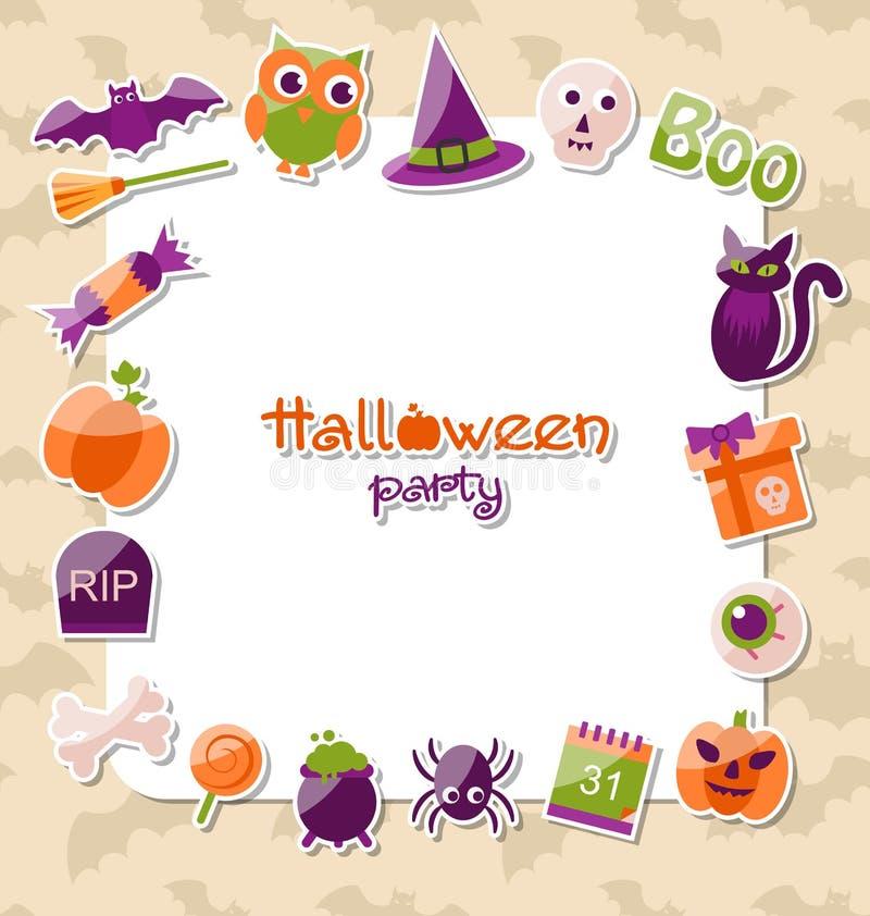 Groetkaart voor Halloween-Partij met Kleurrijke Vlakke Pictogrammen stock illustratie