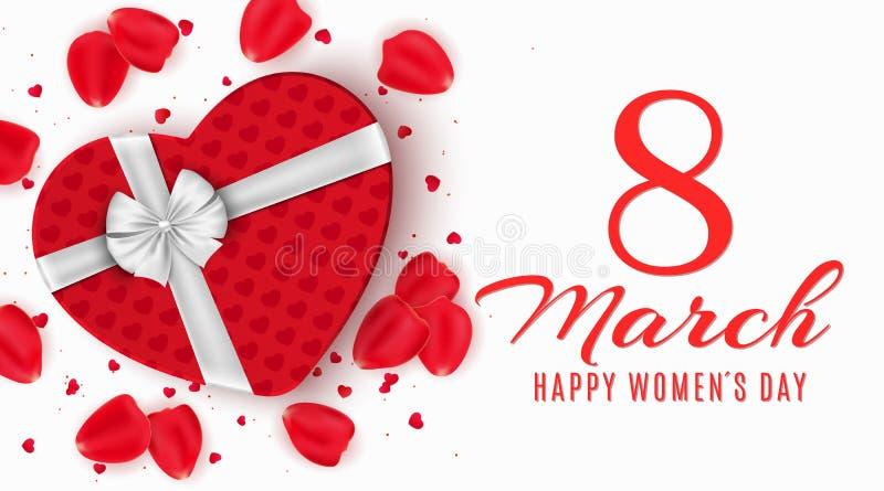 Groetkaart voor 8 Maart Rode giftdoos van hart op de dag van gelukkige vrouwen lichte witte achtergrond Nam bloemblaadjes en conf vector illustratie