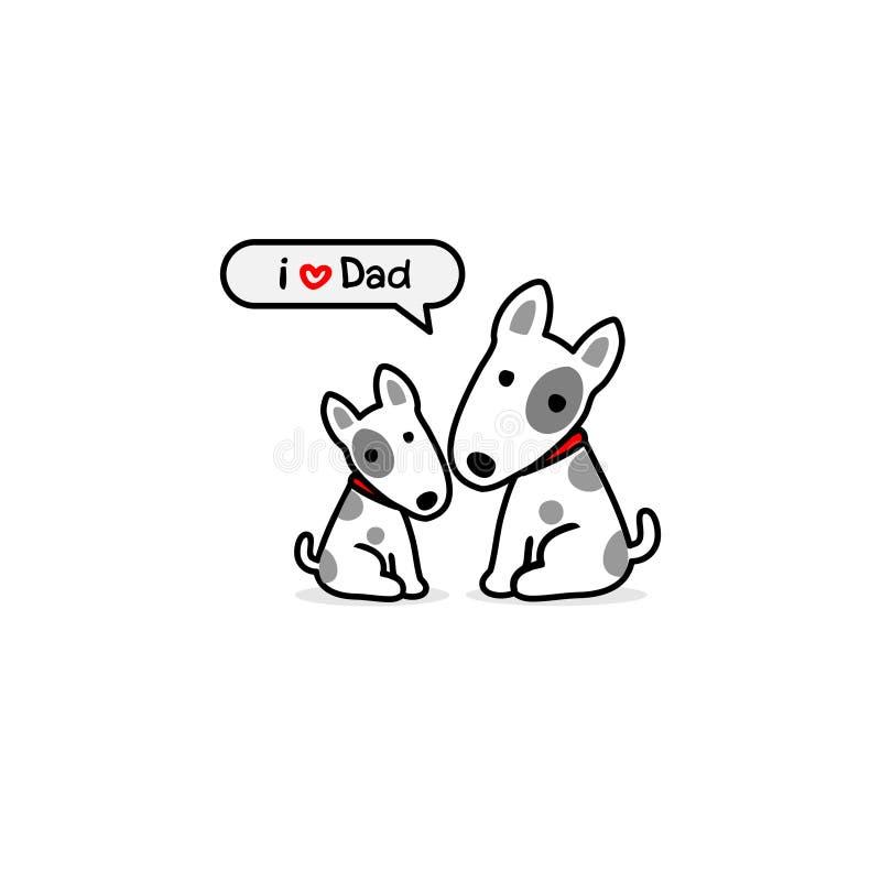 Groetkaart voor papa met leuke hond en baby Vector illustratie stock illustratie