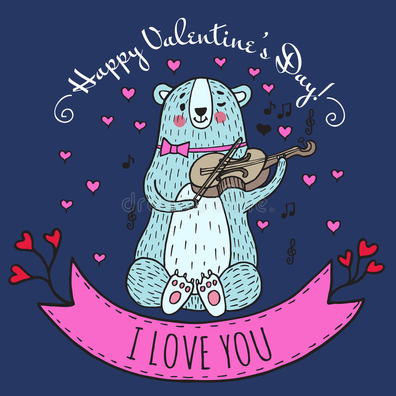 Groetkaart voor Valentijnskaartendag met teddybeer vector illustratie